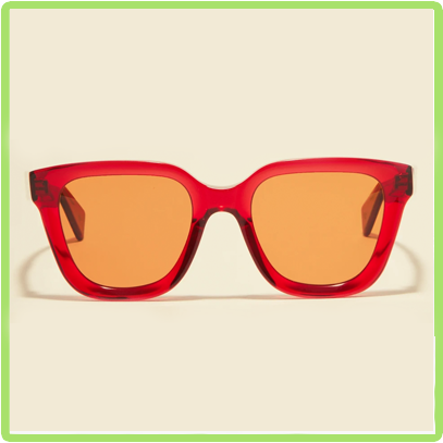 red frames with yellow lenses