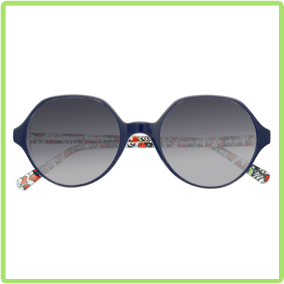 Dark blue frames with colorful geometric patterned interior