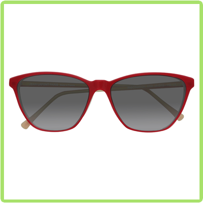red trapezoid frames with gray lenses