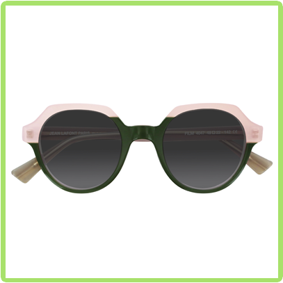 Colorful combination of round and hexagon shaped frames in pink and green
