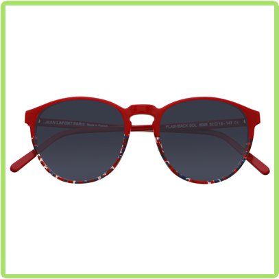 Retro 80's frames with round, preppy shape in red and confetti bottom