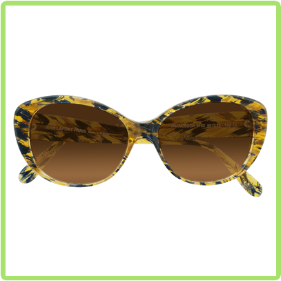 Upswept feminine shape in blue and yellow acetate