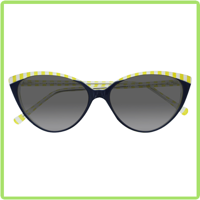Cat eye silhouette acetate frames with yellow striped patterned acetate